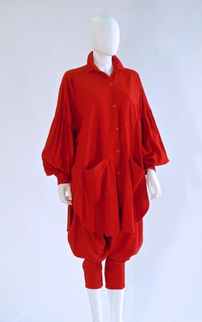 Red Silk Suit with Jodhpurs, by Bern Conrad, New York, c. 1982