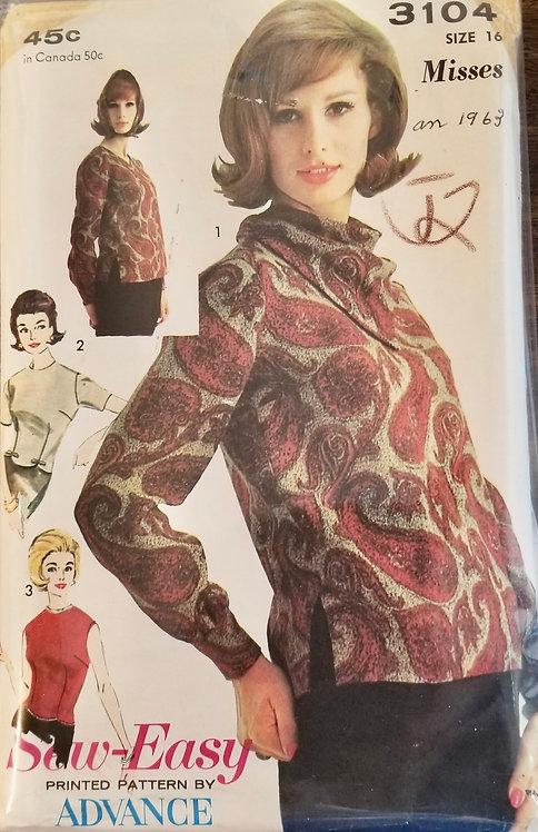 1963 Advance blouse pattern #3104