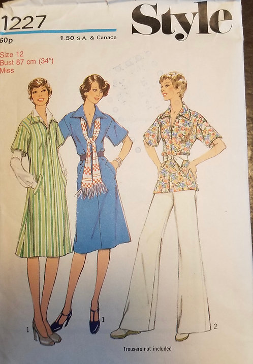 1975 Style pattern #1227 for dress or top