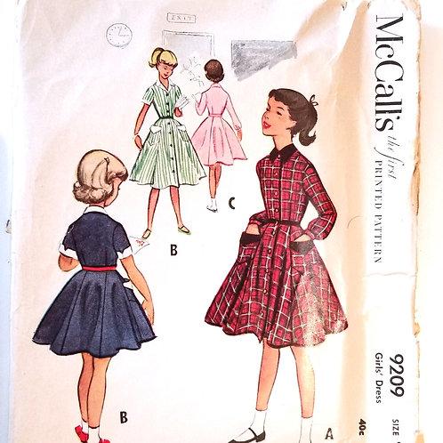 1952 McCall's #9209 girl's dress