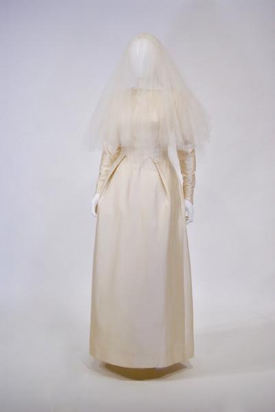 Cream Silk Dress with Silk Net Veil, English, worn June 5, 1961