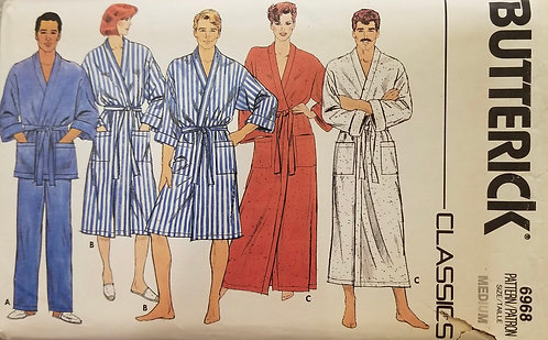 1980s Butterick unisex dressing gown pattern #6968