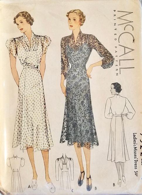 1937 McCall dress pattern #9322
