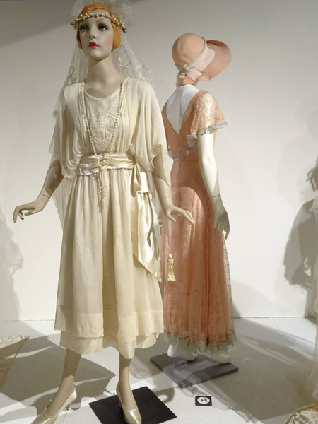 Left to Right: Cream Silk Satin and Chiffon Dress, Pink Machine Lace with Blue Tulle Net Trim Dress with Original Pink Felt Hat