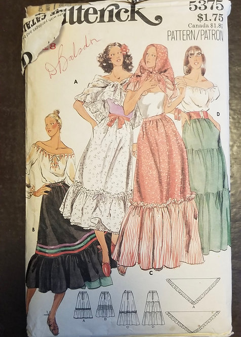 1977 (c.) Butterick #5375 pattern for peasant skirt and shawl