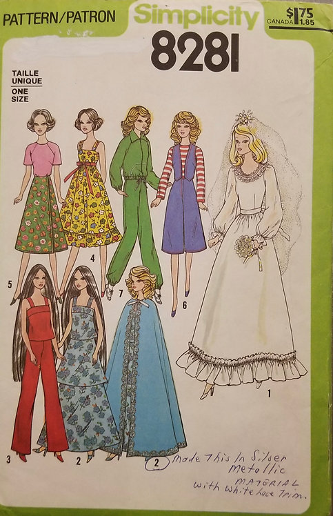 1977 Simplicity doll clothes pattern #8281