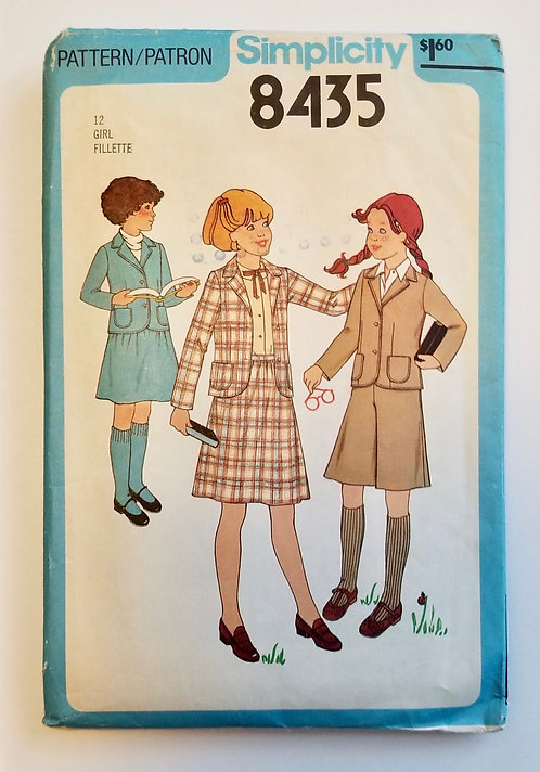 1978 Simplicity pattern 8435 girl's skirt/culottes suit