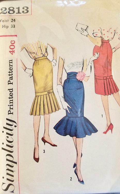 1958 circa Simplicity skirts with pleated hem pattern #2813