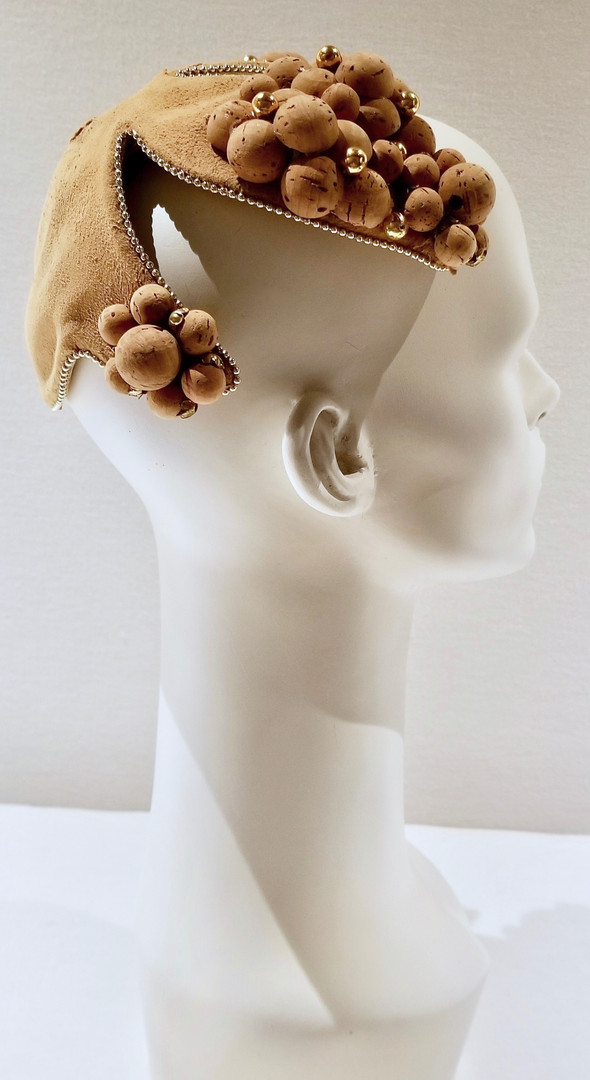 Suede Hat Trimmed with Cork Spheres, 1960/61