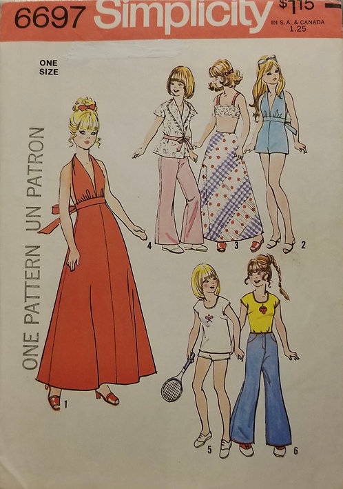 1974 Simplicity doll clothes pattern #6697
