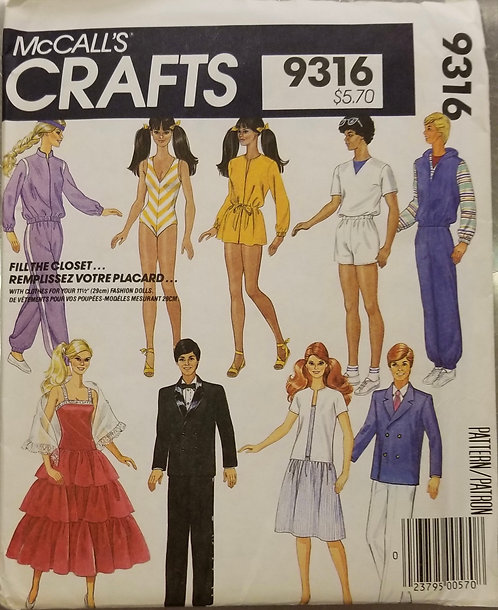 1984 McCall's doll clothes pattern #9316