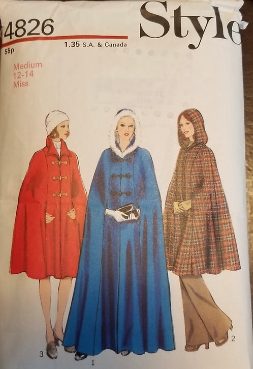 1974 Style pattern #4826 for cape