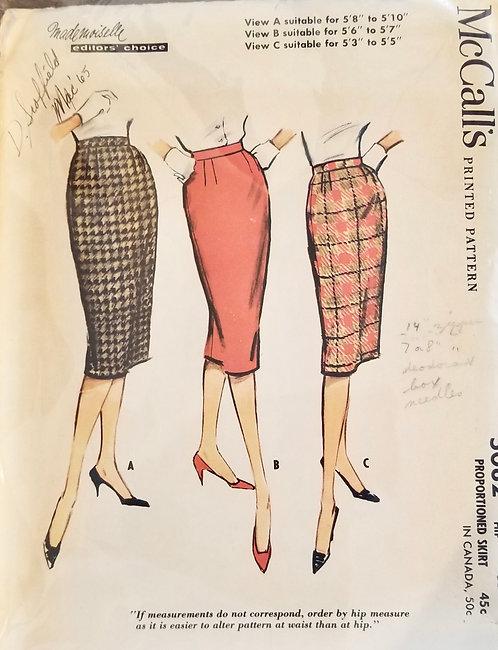 1959 McCall's skirt pattern #5082