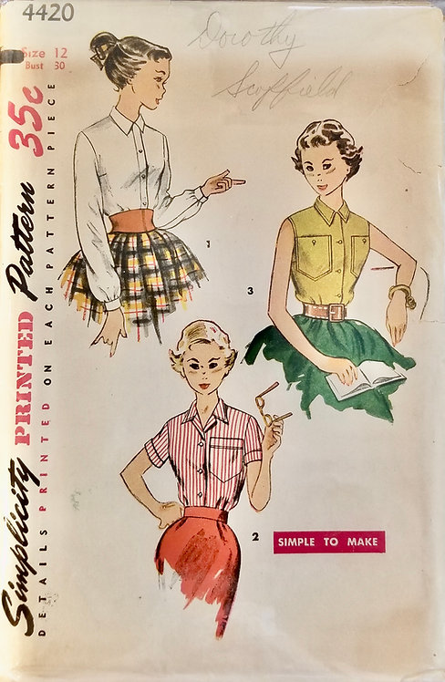 1953 circa Simplicity teen blouses #4420