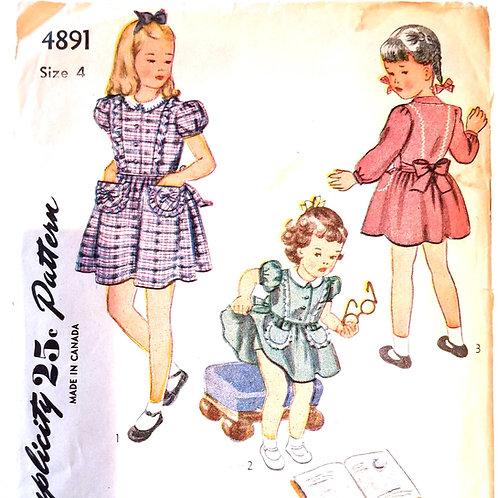 1943 Simplicity 4891 girl's dress