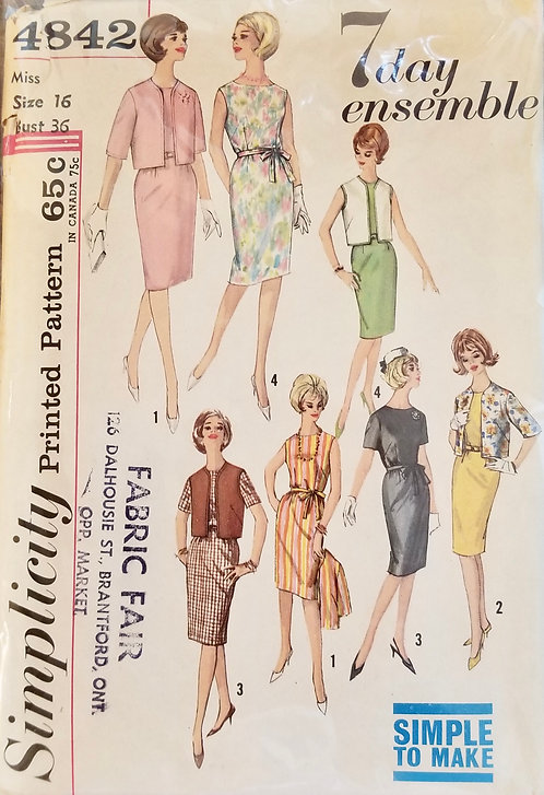 1960s (early) Simplicity dress, vest, and jacket pattern #4842