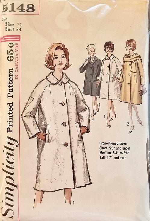1963 Simplicity coat pattern  #5148