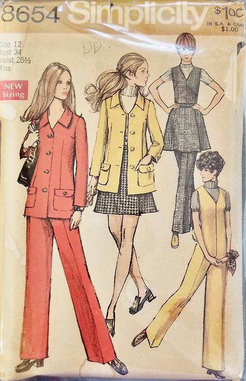 1969 Simplicity pants, jacket, skirt, jumpsuit pattern #8654
