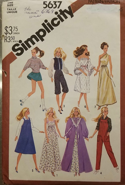 1982 Simplicity doll clothes pattern #5637