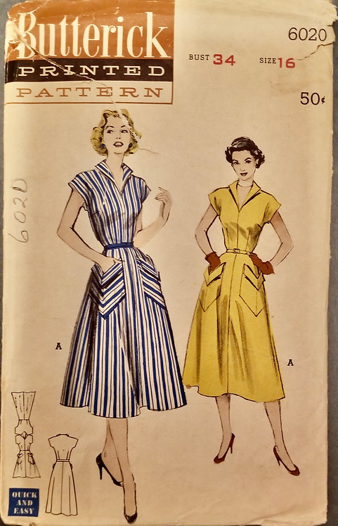 1953 Butterick pattern# 6020