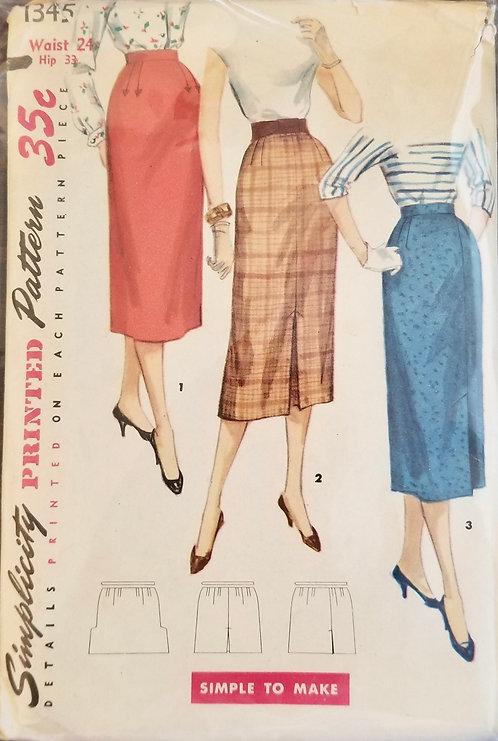 1955 circa Simplicity skirt pattern #1345