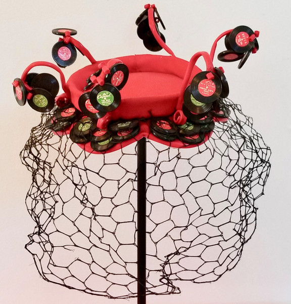 Red Crepe Hat Decorated with Miniature Records, 1955/56