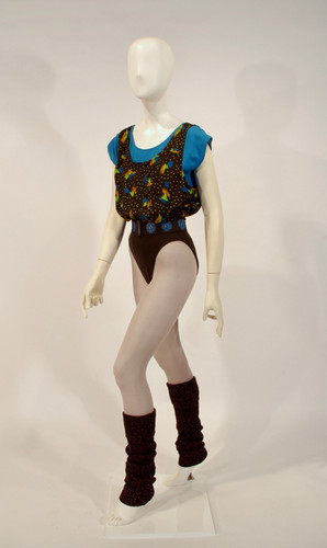 Blue, Black and Brown Aerobics Outfit, late 1980s