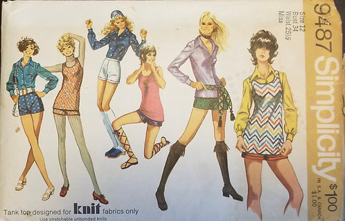 1971 Simplicity pattern #9487 for blouse, shorts, and top