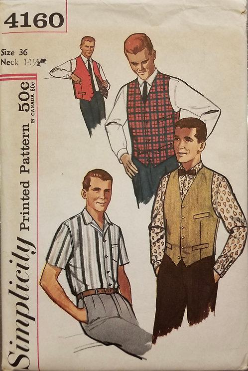 c. 1961 Simplicity men's shirt and vest pattern #4160