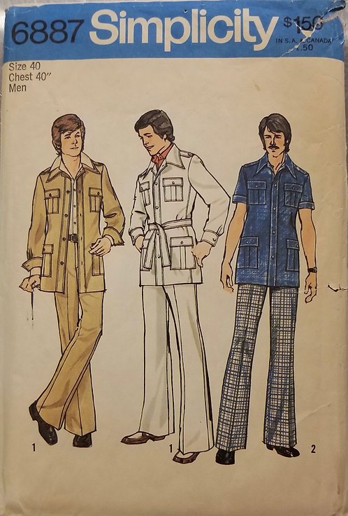 1975 Simplicity man's safari jacket and pants pattern #6887