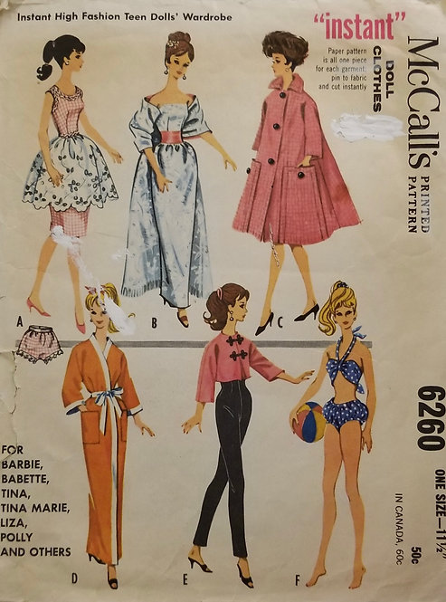 1961 McCall's doll clothes pattern #6260