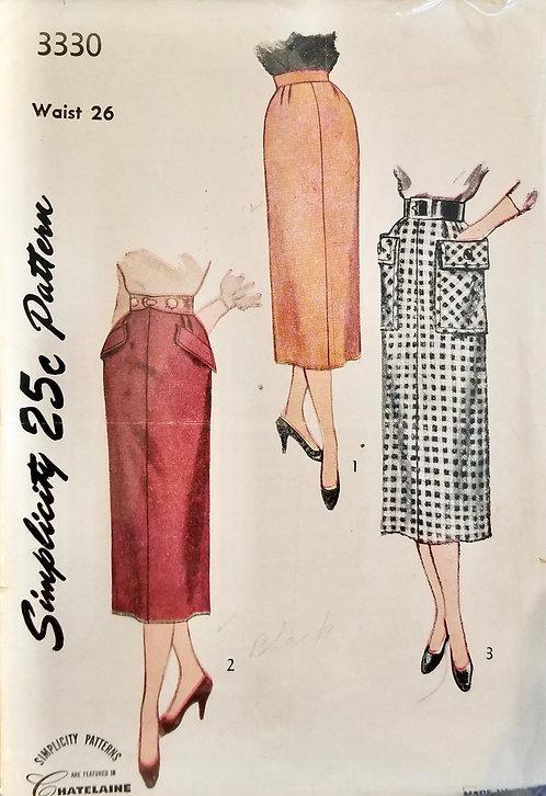 1950 circa Simplicity skirt pattern #3330