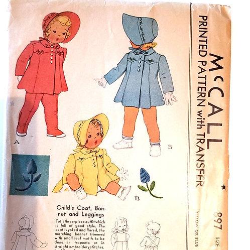 1941 McCall's #897 child's coat, bonnet & Leggings