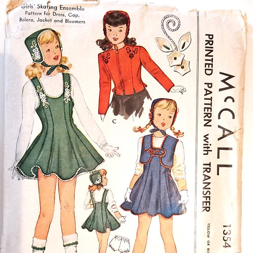 1947 McCall's #1354 Girl's skating costume