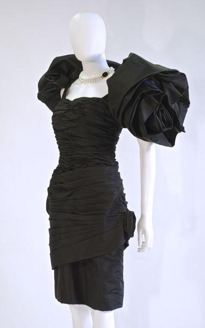 Black Taffeta Dress by Victor Costa, American,  mid 1980s