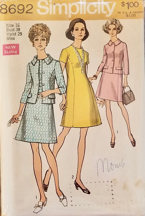 1970 Simplicity dress and jacket pattern #8692