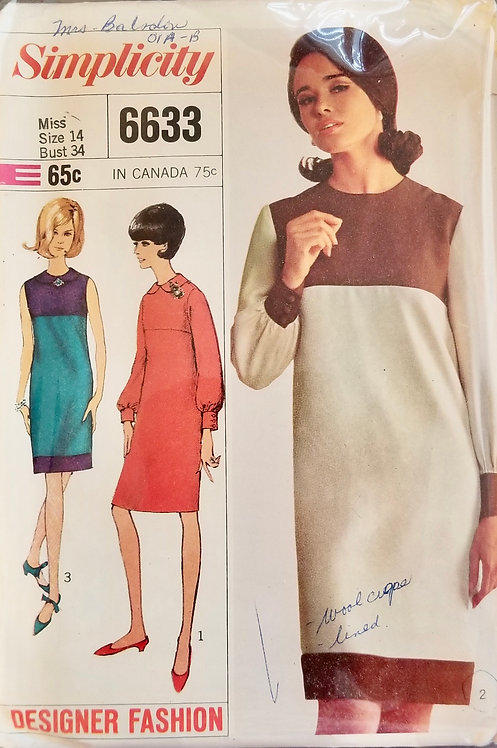 1966 Simplicity dress pattern #6633