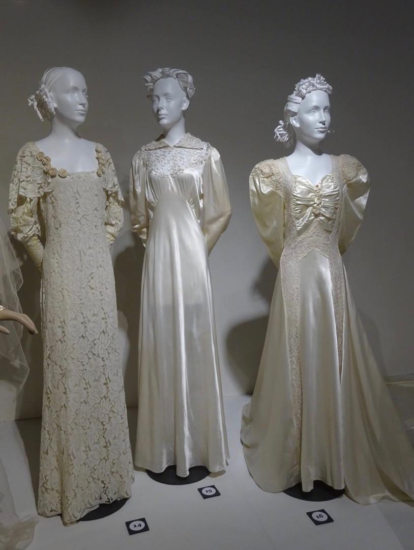 Left to Right:  White Lace Dress, Canadian, c. 1933  Cream Satin Dress worn in Hamilton, Ontario, 1934  Cream Rayon Satin and Lace dress, worn in Des Plaines, Illinois, 6 June, 1942