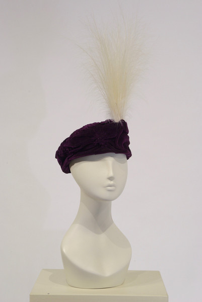 Velvet Toque trimmed with egret, c. 1913