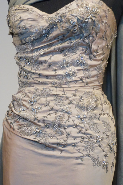 Silk Beaded Evening Gown with Bead Embroidery by Pierre Balmain, Paris, 1953