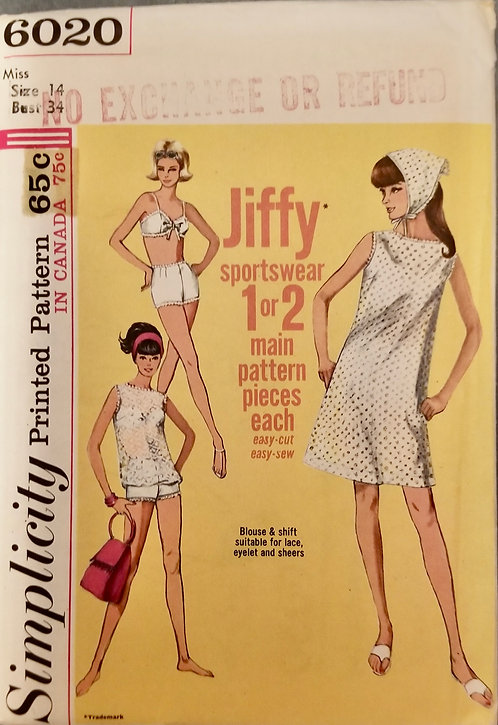 1965 Simplicity pattern #6020 as is