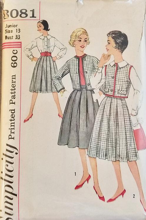 1959 circa Simplicity jacket, skirt & blouse pattern #3081