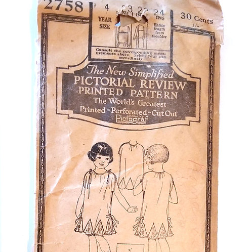 1920s (late) Pictorial Review 2758, girl's dress