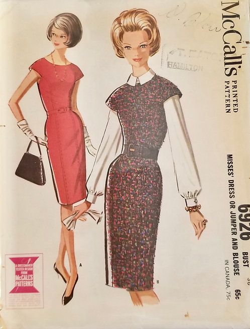 1963 McCall's dress or jumper/blouse pattern #6926