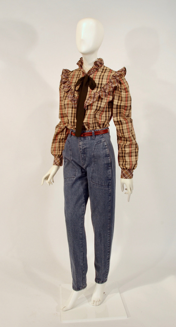 High Waisted Blue Jeans with Victorian Style Tartan Blouse, American, early 1980s