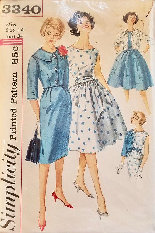 1960 SimplicityJunior Miss dress #3340