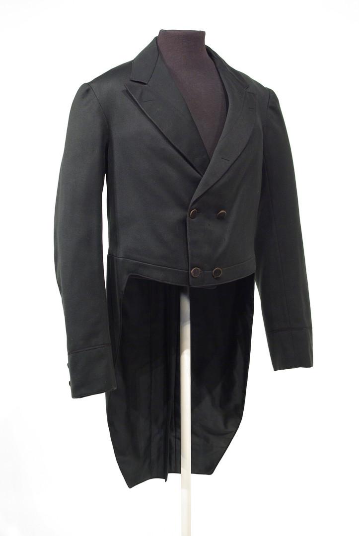 Black Wool Tailcoat, labelled 'D. Stevenson, Toronto' c. 1870