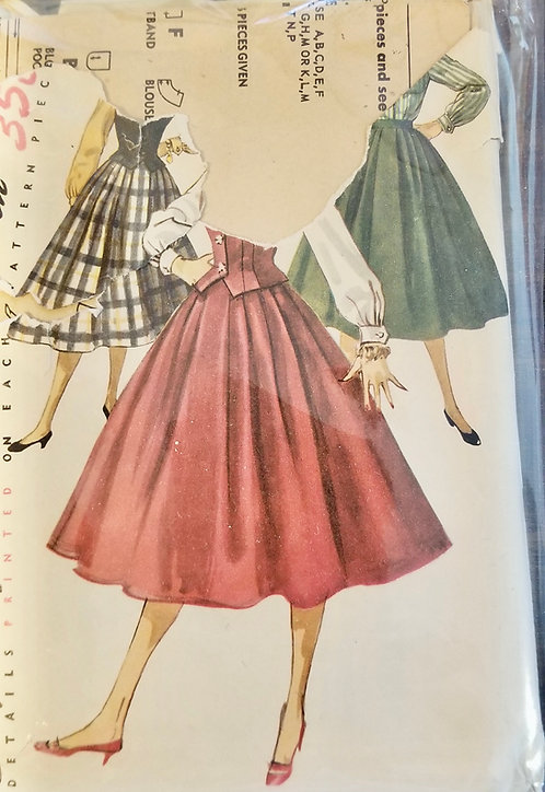 1955 circa Simplicity skirt and waistcoat set pattern #1259