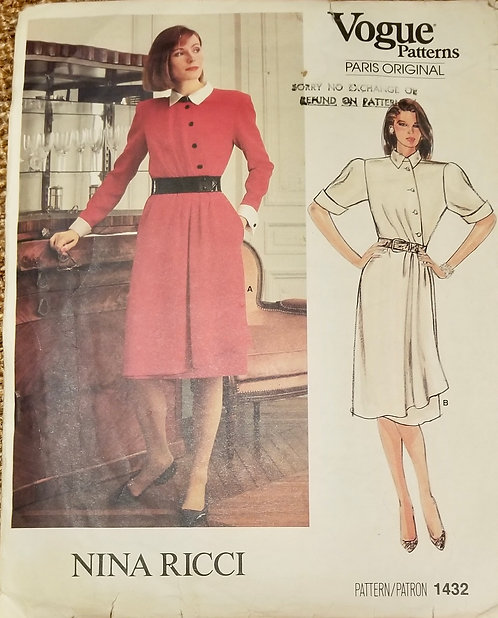 1980s Vogue Paris Original Nina Ricci dress pattern #1432