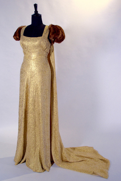 Gold Lame Presentation Gown by Ida Desmarais, 1938, Montreal, Quebec